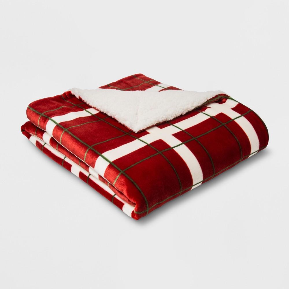 Printed Plush Reverse To Sherpa Throw Blanket Red/Cream (Red/Ivory) - Threshold