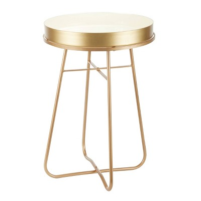 Side Table Round Metal and Enamel - Olivia & May
