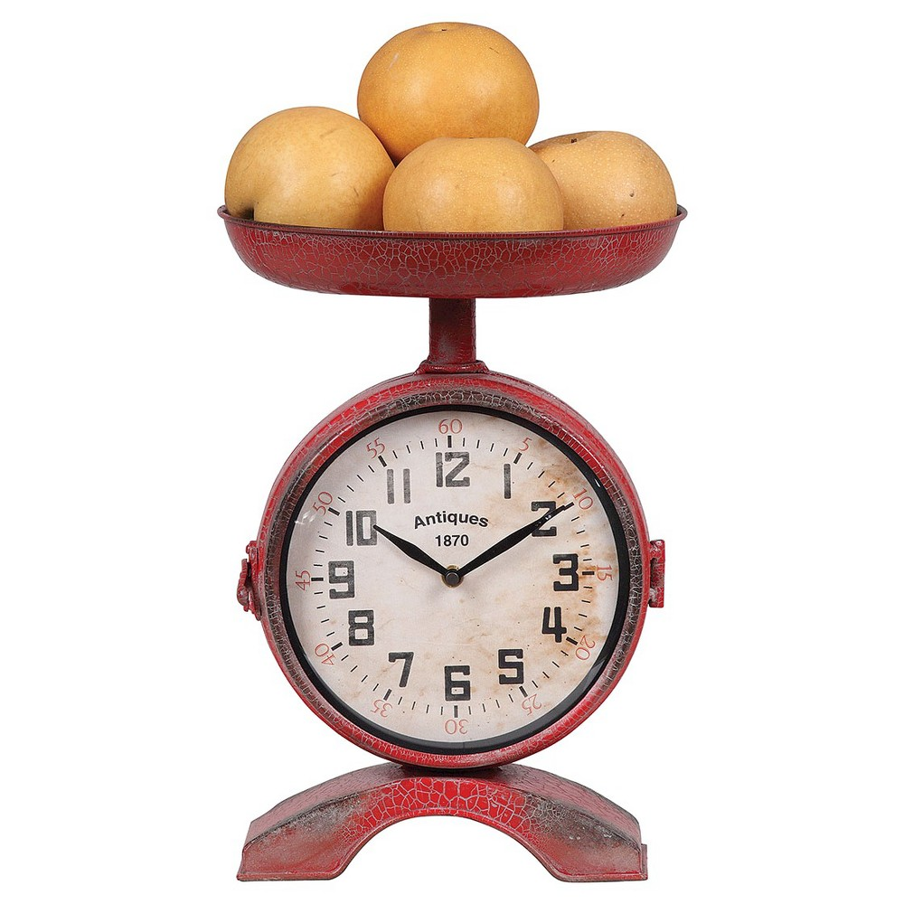 2-Side Scale Shaped Clock Vintage Red - 3R Studios