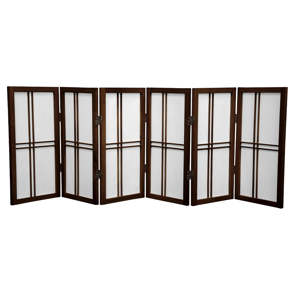 Image of 2 ft. Tall Desktop Double Cross Shoji Screen - Walnut (6 Panels) - Oriental Furniture, Brown