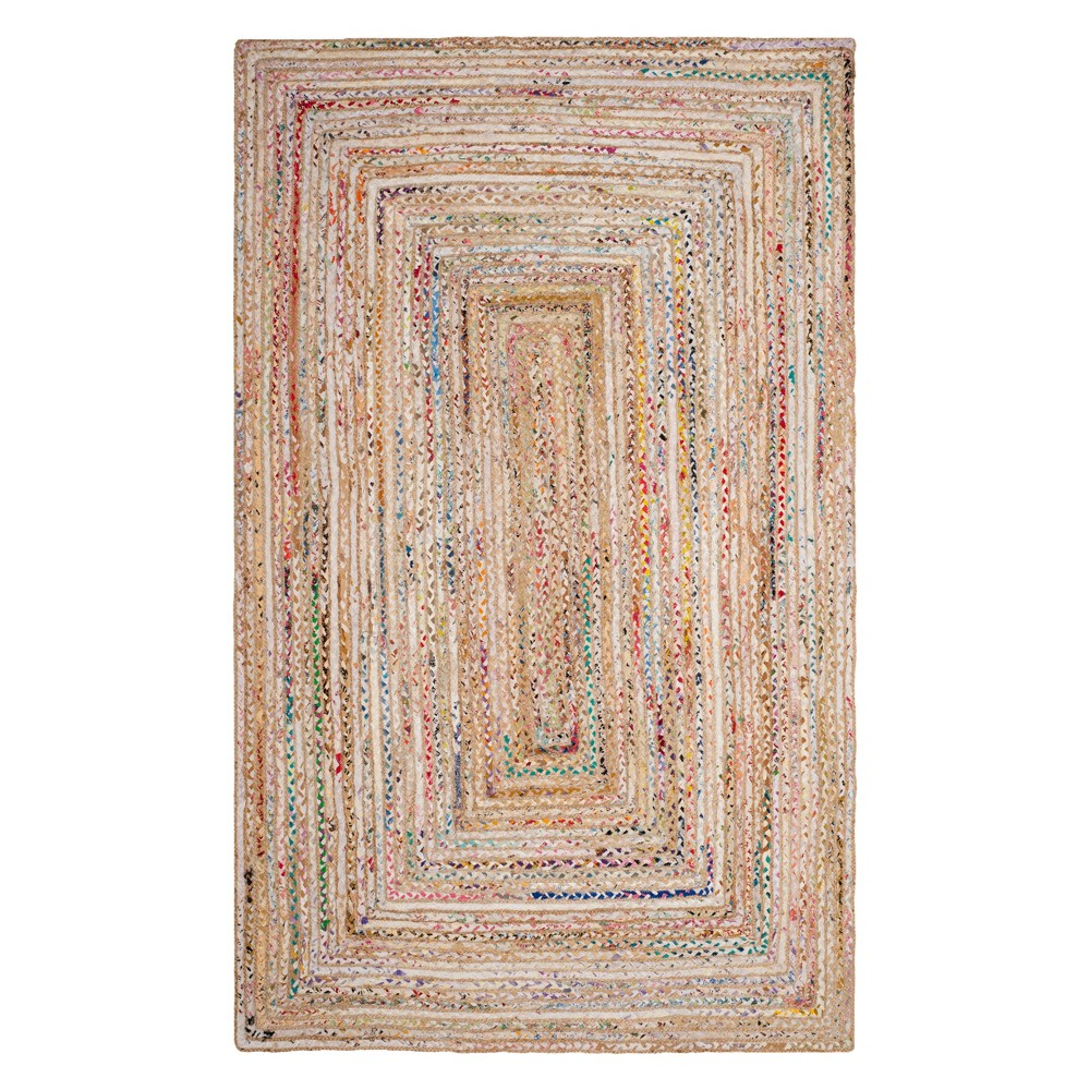 5'X8' Stripe Woven Area Rug Beige - Safavieh, Beige/Multi-Colored