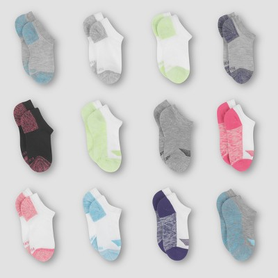 Hanes Girls' 12pk No Show Socks - Colors Vary M