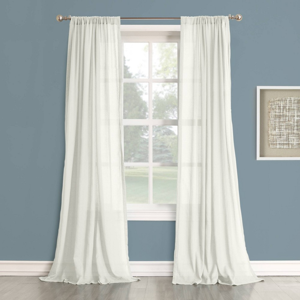 95 34 X50 34 Harvey Cotton Gauze Texture Semisheer Curtain Panel White No 918
