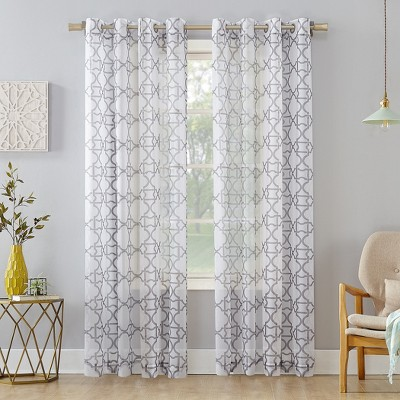 Powell Trellis Sheer Grommet Curtain Panel - No. 918