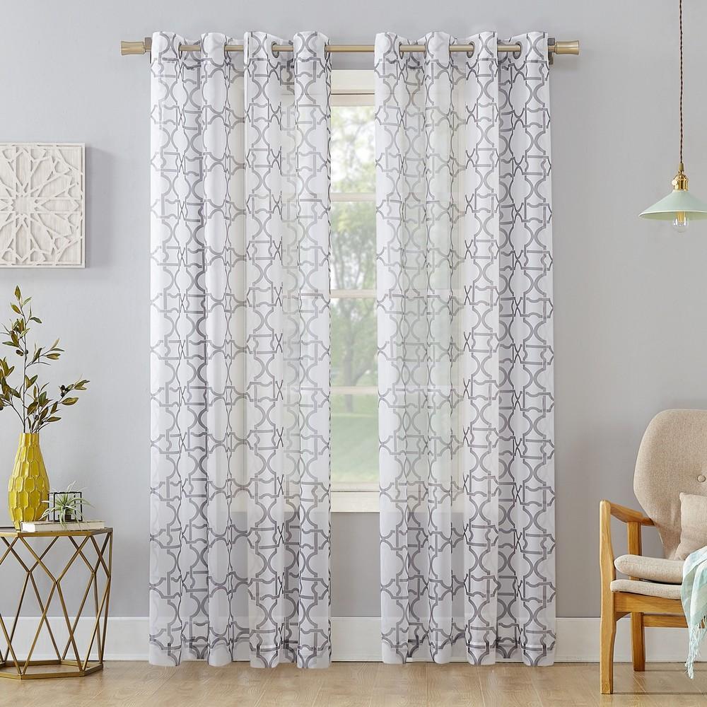 59x63 Powell Trellis Sheer Grommet Curtain Panel Gray-No. 918, Gray