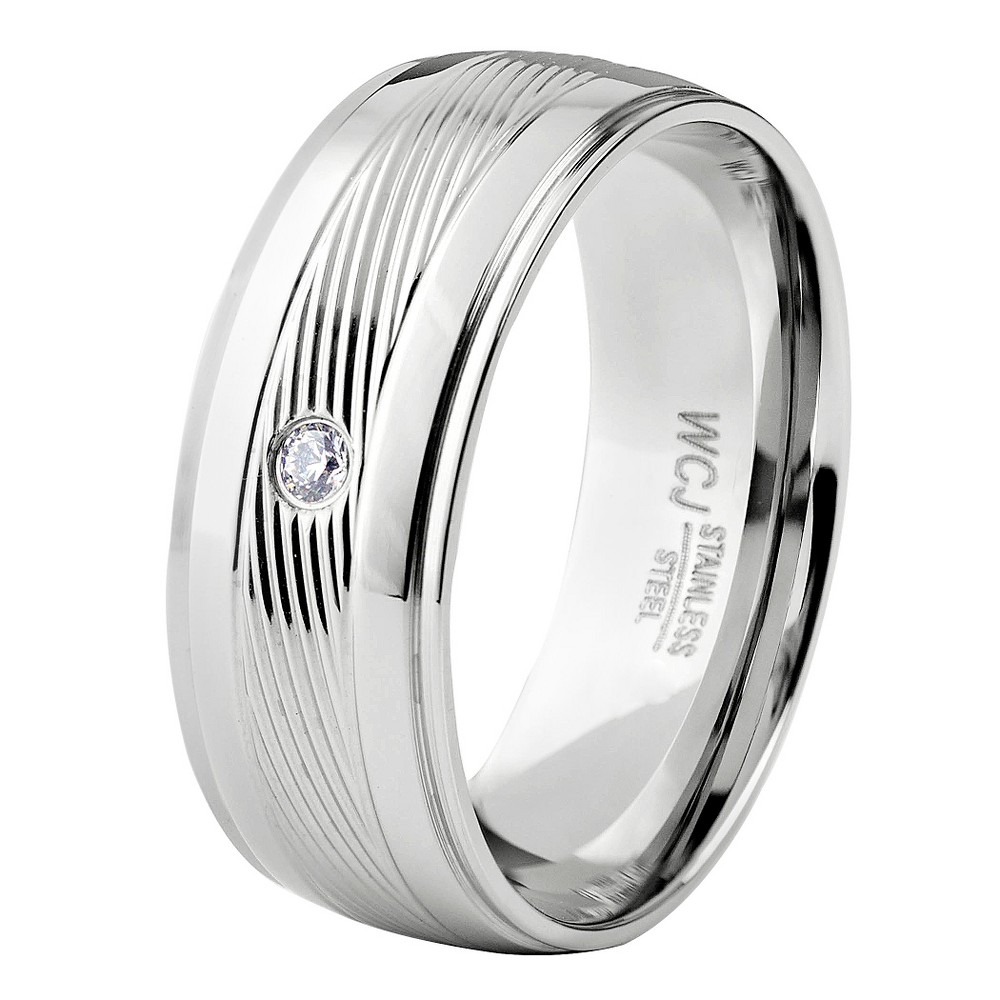 Men's West Coast Jewelry Stainless Steel Cubic Zirconia Diagonally Striped Center Band (9), Silver