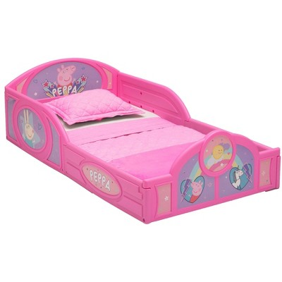 Toddler Peppa Pig Plastic Sleep and Play Bed with Attached Guardrails - Delta Children