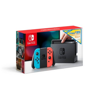 Nintendo Switch with Neon Blue and Neon Red Joy-Con + $35 Nintendo eShop Credit Download Code
