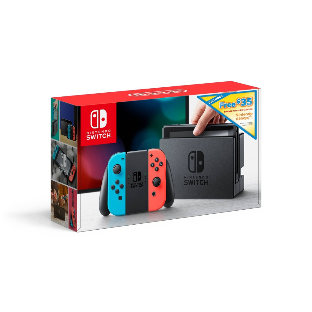 Nintendo Switch with Neon Blue and Neon Red Joy-Con + $35 Nintendo eShop Credit Download Code, Black