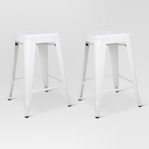 Superb Carlisle 24 Metal Counter Stool White Set Of 2 Threshold Unemploymentrelief Wooden Chair Designs For Living Room Unemploymentrelieforg