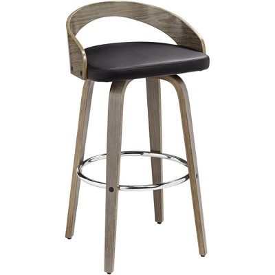 "LumiSource Gratto 29 1/4"" Black Faux Leather Gray Wood Swivel Bar Stool"