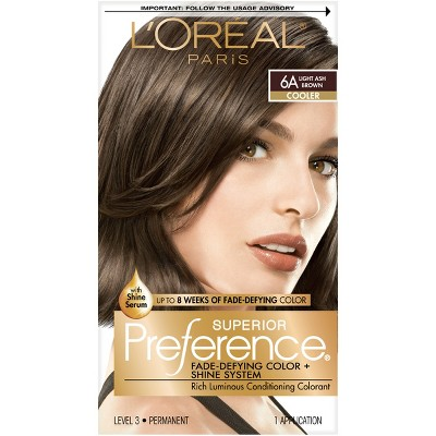 L'Oreal Paris Superior Preference Fade-Defying Color + Shine System - 6A Light Ash Brown - 1 Kit