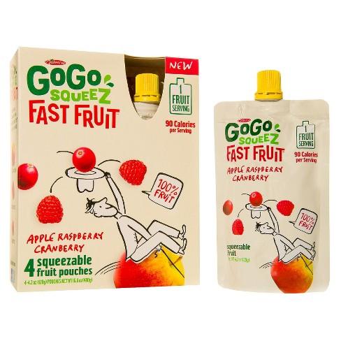 GoGo squeeZ Apple Raspberry Cranberry Fruit Pouches 4.2 oz, 4 pk - image 1 of 1