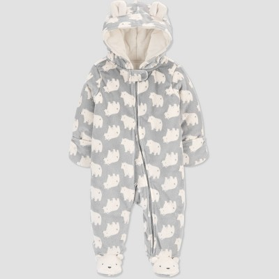 Baby Pram Bear Footed Snowsuit Jacket - Just One You® made by carter's Gray Newborn