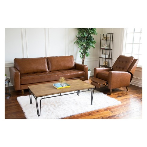Calvin Mid Century Leather Sofa And Recliner Set Camel - Abbyson ...