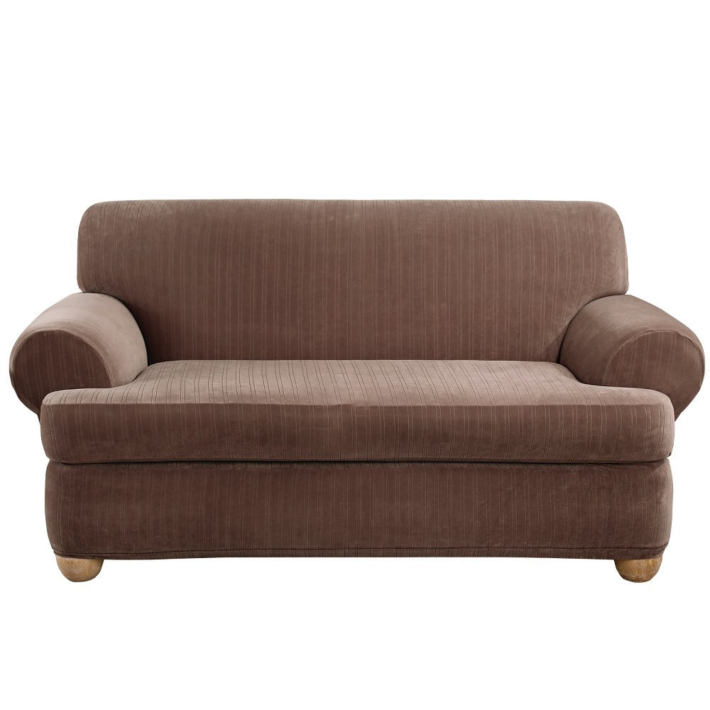 Stretch Pinstripe T-Loveseat Slipcover Chocolate (Brown) - Sure Fit