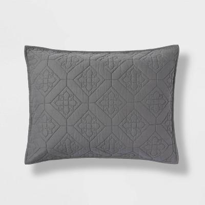 Standard Embroidered Cotton Quilt Sham Dark Gray - Threshold™