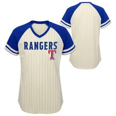 MLB Texas Rangers Girls' Pinstripe V-Neck T-Shirt