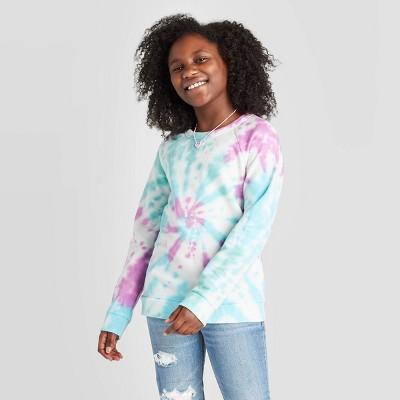 Girls' Tie-Dye Pullover Sweatshirt - Cat & Jack™ Blue/Purple