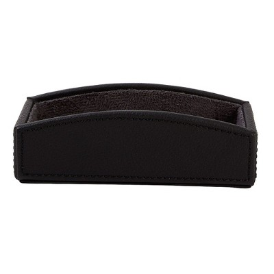 Staples Business Card Holder Faux Leather Black 2030220