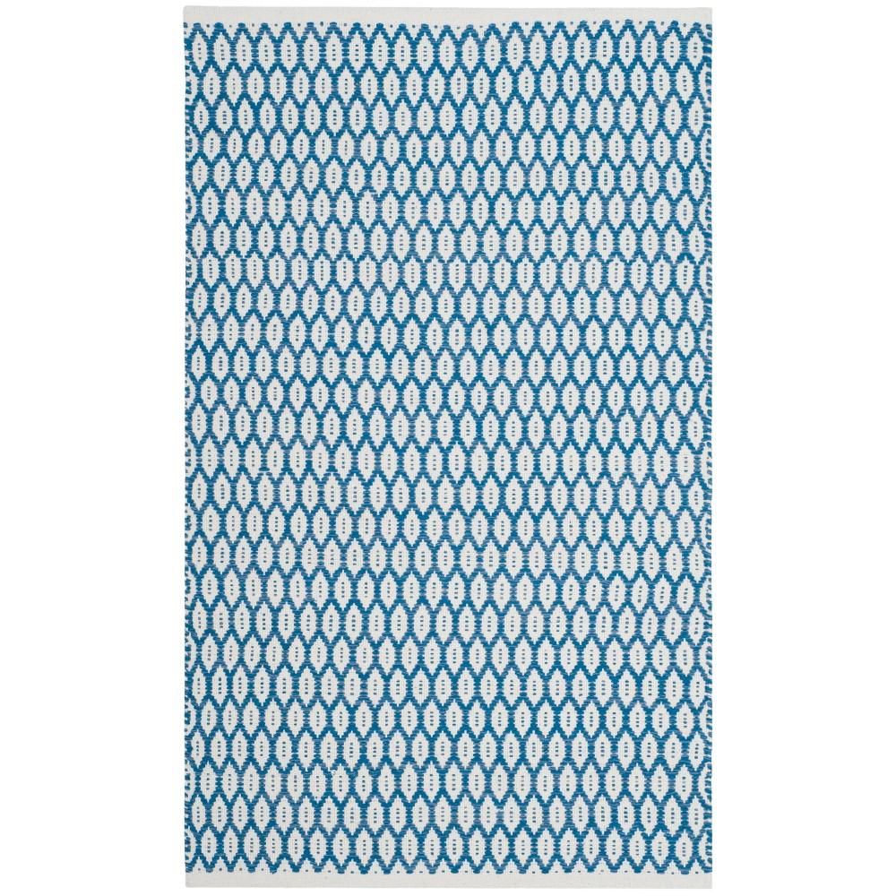 2 3 X7 Woven Geometric Runner Rug Blue Ivory Safavieh