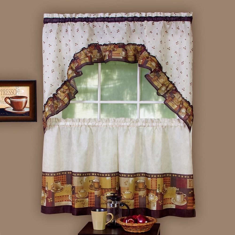 Coffee Printed Tier and Swag Window Curtain Set Multi 57x 36 - Achim, Brown Beige White