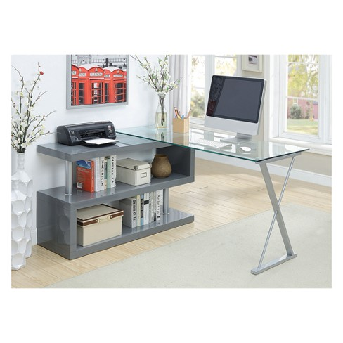 Bourne Contemporary Adjustable Glass Desk Gray - HOMES: Inside + Out - image 1 of 2