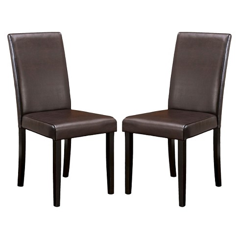 Set Of 2 Ryan Bonded Leather Dining Chair Brown Christopher Knight Home Target