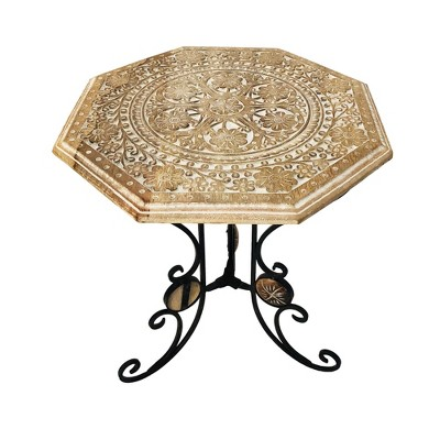Engraved Carved Octagonal Mango Wood Table with Scrolled Foldable Legs Brown/Black - The Urban Port