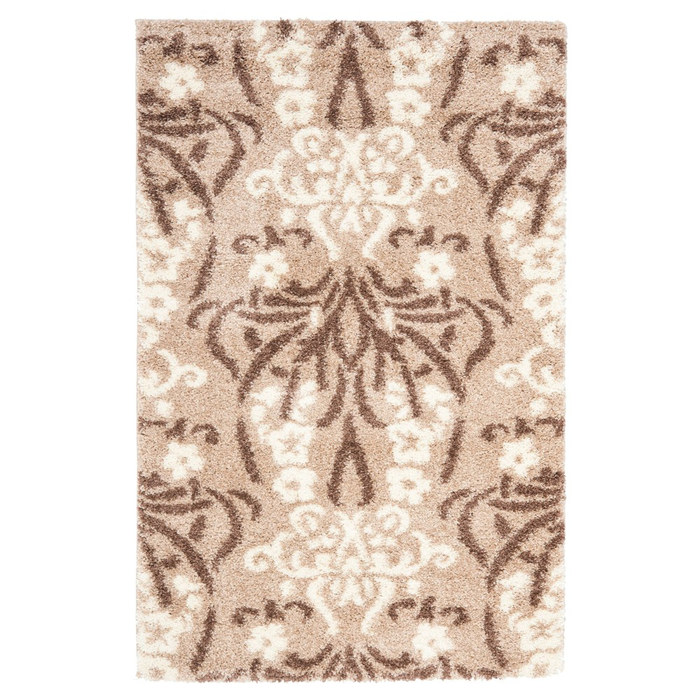 Beige/Cream Abstract woven Area Rug - (5'3