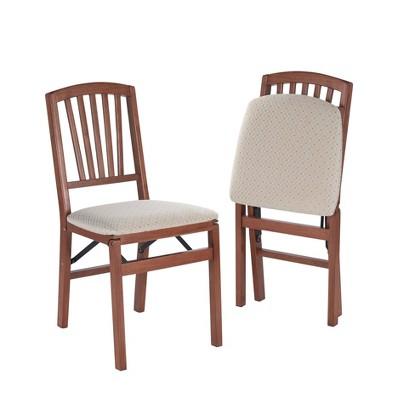 2pc Slat Back Folding Chairs Cherry - Stakmore