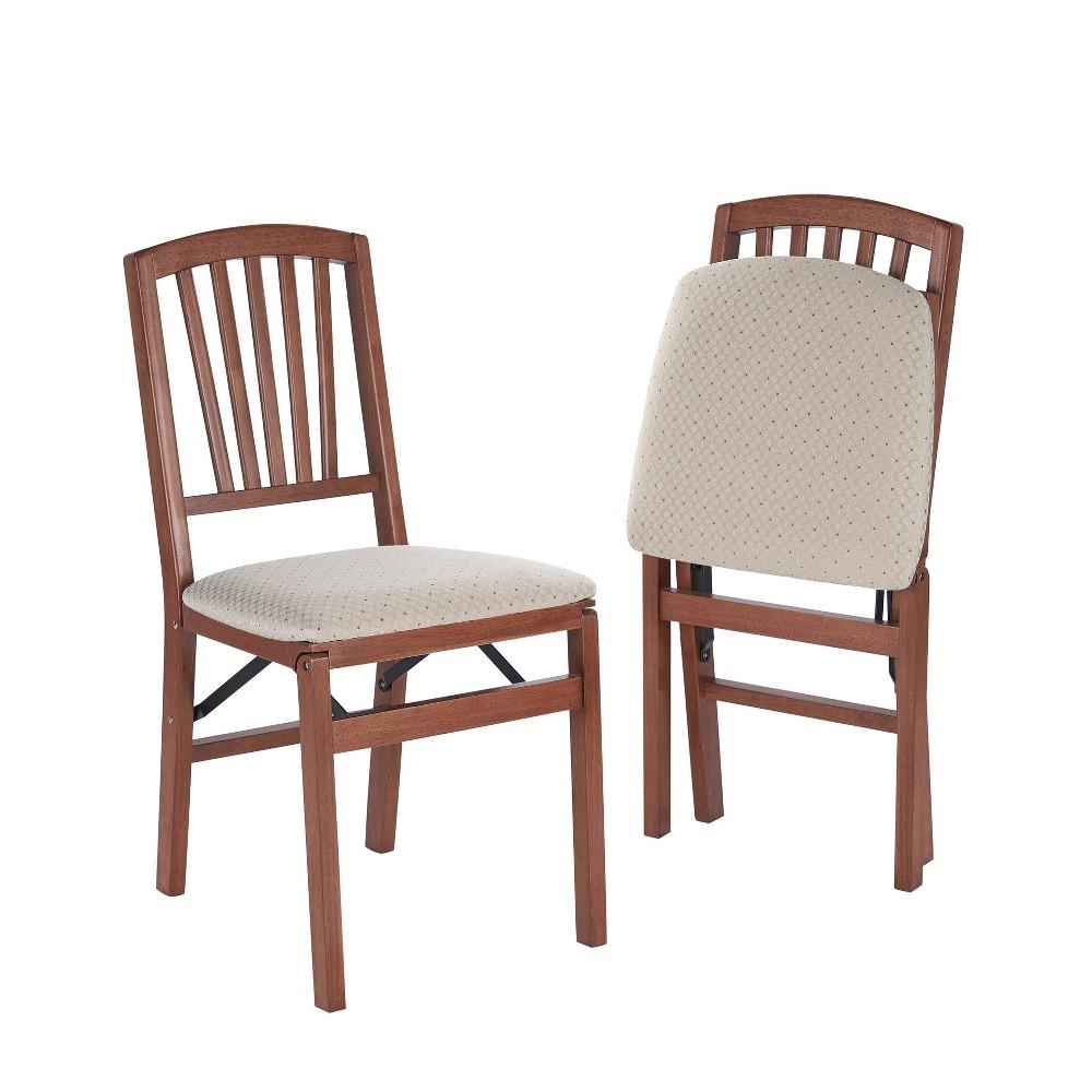 Image of 2 Piece Slat Back Folding Chair Cherry - Stakmore