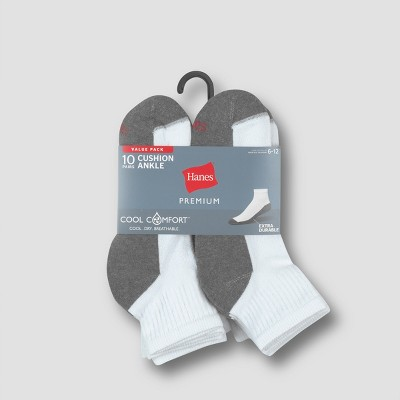 Men's Big & Tall Hanes Premium 10Pk Extended Size White Ankle Socks, Size: 12-14