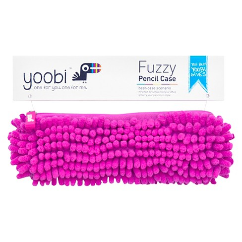Fuzzy Pencil Case Pink - Yoobi® - image 1 of 2