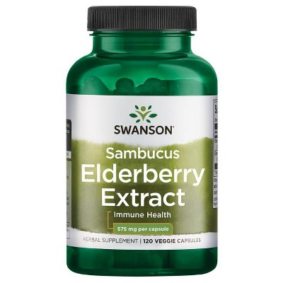 Swanson Herbal Supplements Sambucus Elderberry Extract 575 mg Capsule 120ct