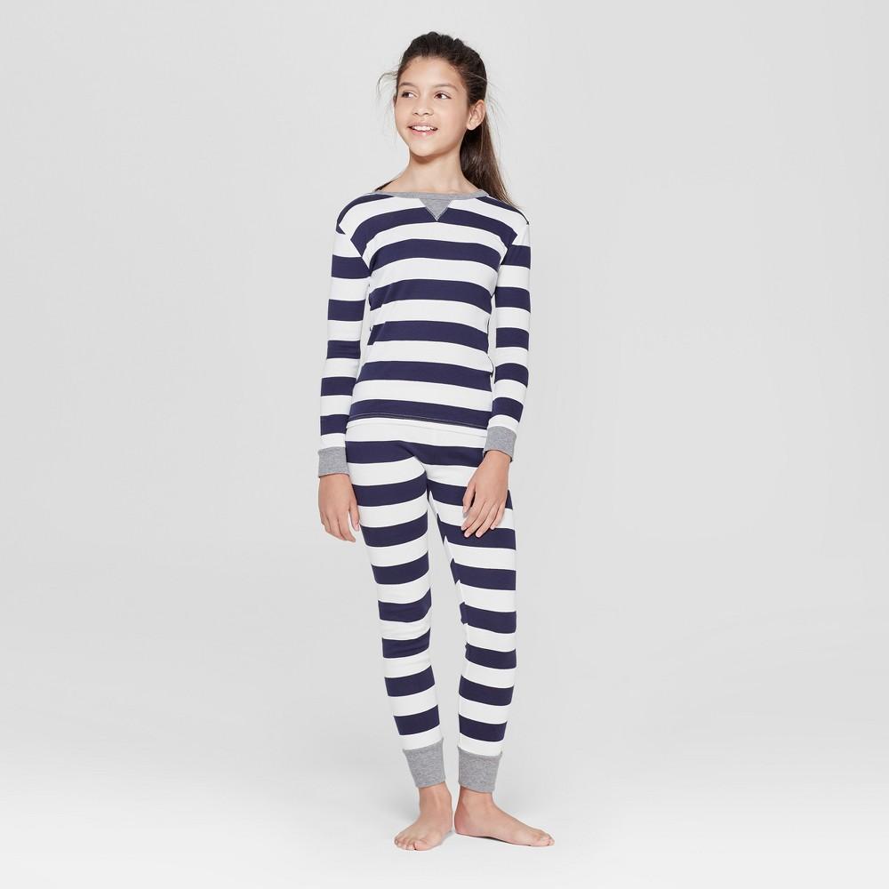 Image of Kids' Striped Pajama Set - Navy 6, Adult Unisex, Blue