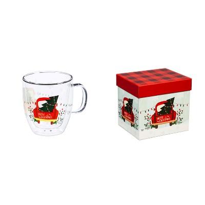 Cypress Home Double Wall Glass Café Cup W/ Box, 12 Oz., Cozy Christmas Trip