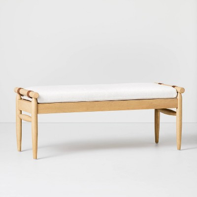 Upholstered Natural Wood Accent Bench Oatmeal - Hearth & Hand™ with Magnolia