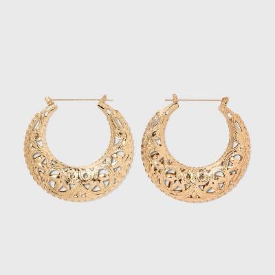 Chunky Cutout Hoop Earrings - Wild Fable™ Gold