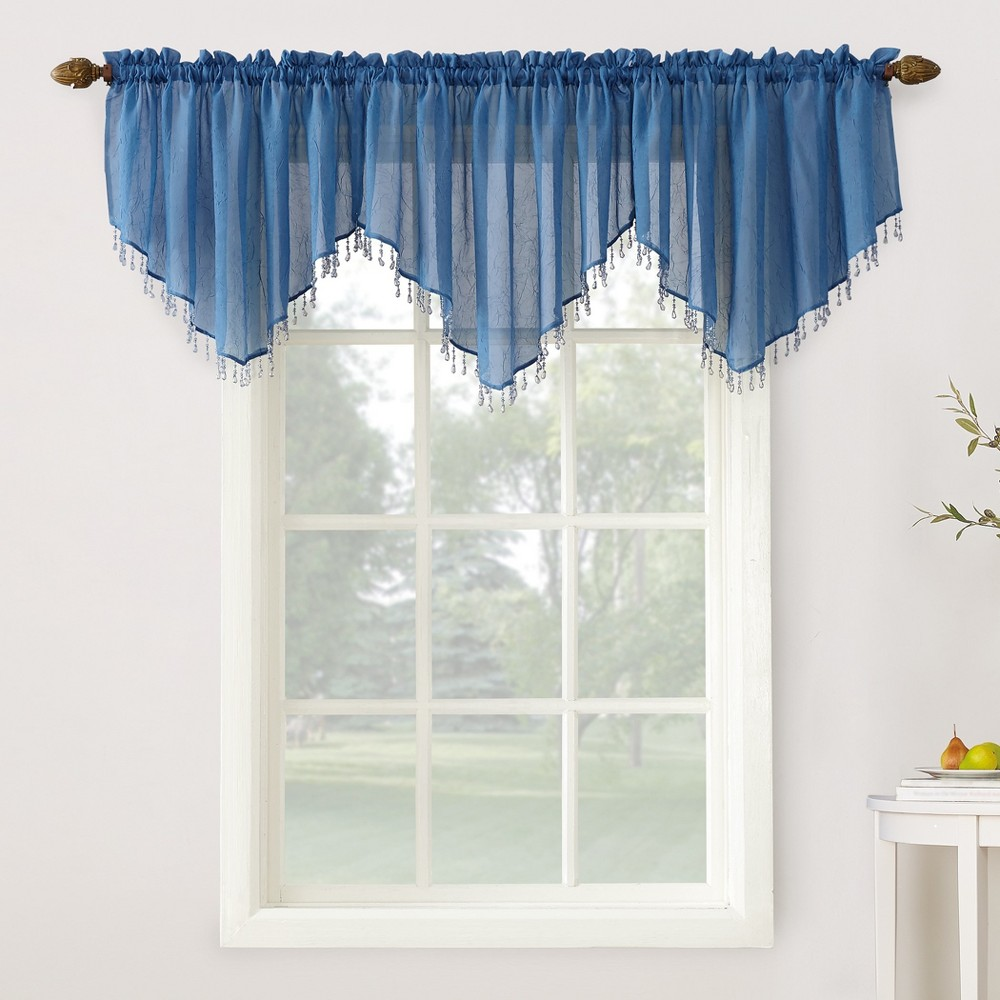 Erica Crushed Sheer Voile Beaded Curtain Valance Blue 51