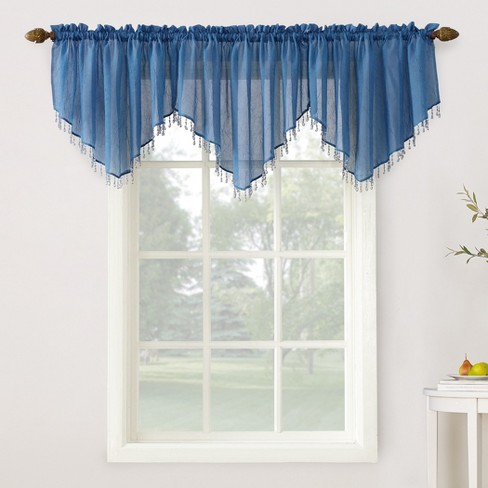 24 X51 Erica Crushed Sheer Voile Beaded Curtain Valance Blue No 918 Target