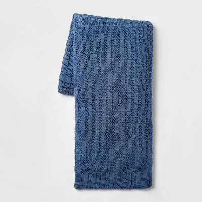 Solid Chenille Throw Blanket Blue - Threshold™