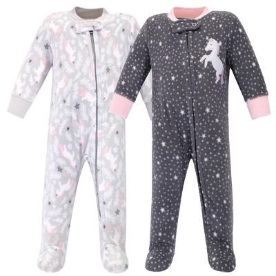 Hudson Baby Infant Girl Fleece Zipper Sleep and Play 2pk, Whimsical Unicorn