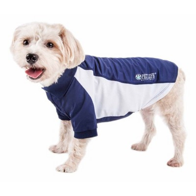 Pet Life Active Barko Pawlo Relax-Stretch Wick-Proof Dog and Cat Polo T-Shirt - Navy