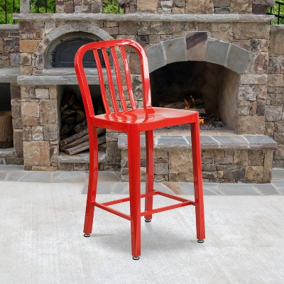 """Emma and Oliver Commercial Grade 24""""H Colorful Metal Indoor-Outdoor Vertical Slat Counter Stool"""
