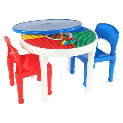 Round Plastic Construction Table With 2 Chairs & Cover - White - Tot Tutors