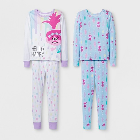 a85cc40c3a8c Girls  Trolls Poppy 4pc Pajama Set - Purple Blue   Target