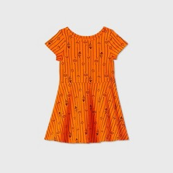 Toddler Girls' Short Sleeve Striped Pumpkin Dress - Cat & Jack™ Orange