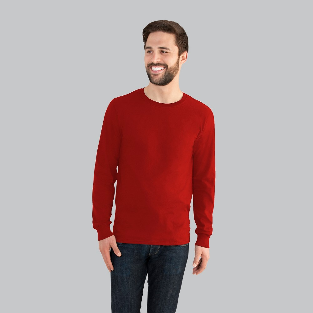 Fruit of the Loom Men's Long Sleeve T-Shirt - Red XL