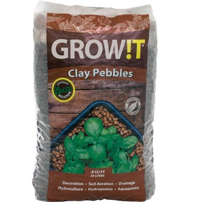 GROW!T GMC10L 100% Natural Clay Pebbles for Hydroponic Growing, Aquaponic Systems, Drainage, and Other Gardening, Brown, .90 Cubic Feet/25 Liter Bag